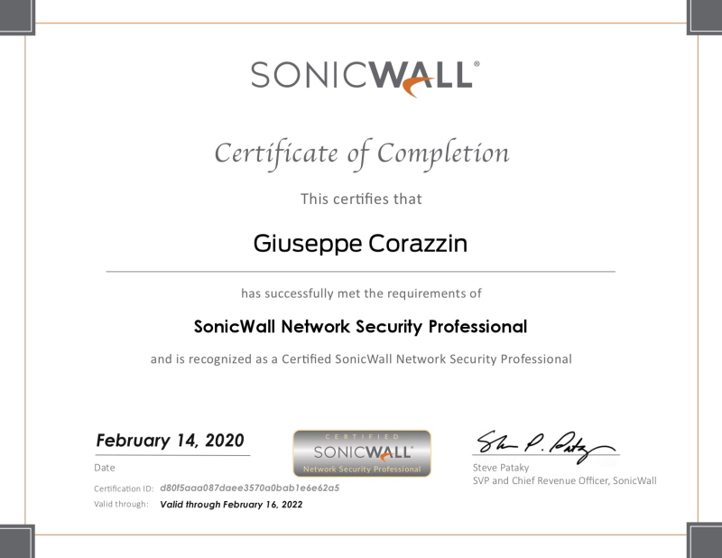 Certified Sonicwall Network Security Professional